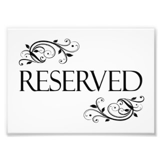 Wedding Reserved Table Card Photo Print