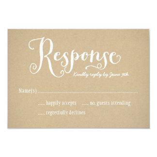 "Wedding Response Card | Kraft Brown 3.5"" X 5"" Invitation Card"