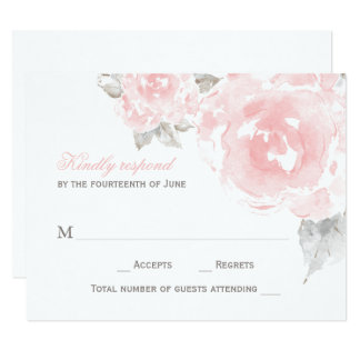 Wedding Response Card | Pink Watercolor Roses