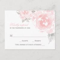Wedding Response Card   Pink Watercolor Roses