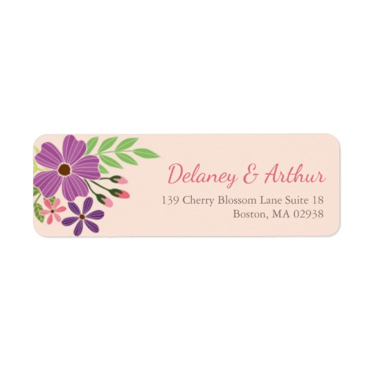 Wedding Return Address Label in Wild Flower Theme