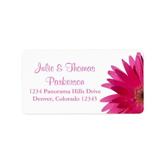 Wedding Return Address Label | Pink Gerber Daisy