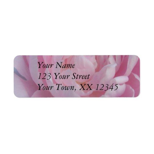 Wedding Return Address Label Pink Peony Peonies