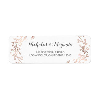 wedding return address labels, laurel, rose gold return address label