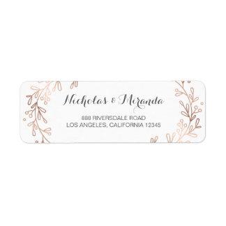 wedding return address labels, laurel, rose gold return address label
