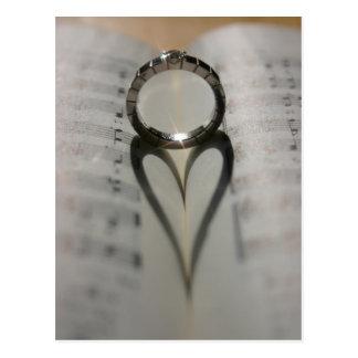 Wedding Ring Heart Shadow Postcard