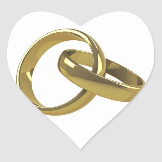 Wedding ring heart sticker