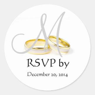 Wedding Ring Monogram RSVP Stickers Grey