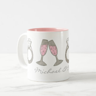 Wedding Ring Pink Champagne Engagement Party Mug