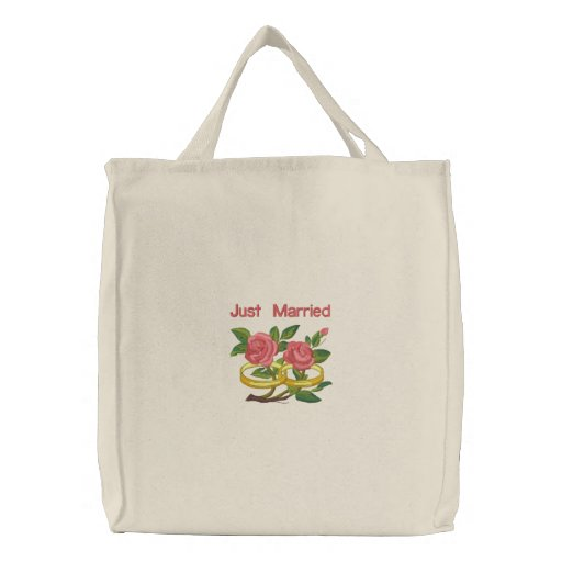 Wedding Ring Roses - Just Married Canvas Bags