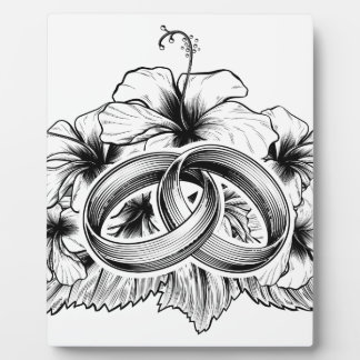 Wedding Rings and Hibiscus Flowers Display Plaques