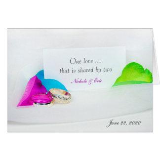 wedding rings and rose petals card
