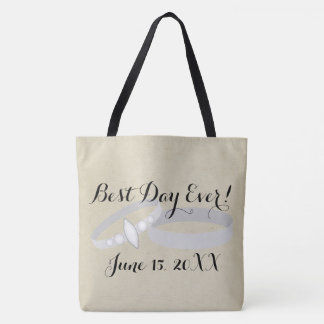 Wedding Rings, Best Day Ever Personalized Date Tote Bag