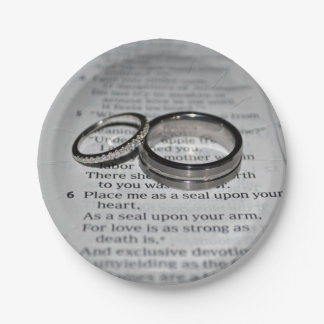 Wedding Rings Bible Verse Disposable Plates 7 Inch Paper Plate