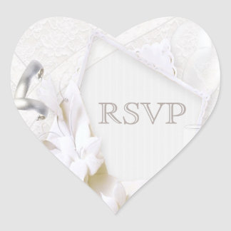 Wedding Rings & Champagne Glasses RSVP Heart Sticker