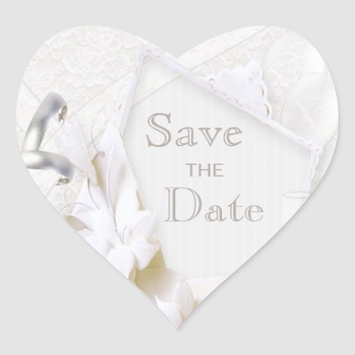 Wedding Rings & Champagne Glasses Save The Date Heart Stickers
