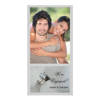 Wedding Rings Engagement Announcement Photo Cards