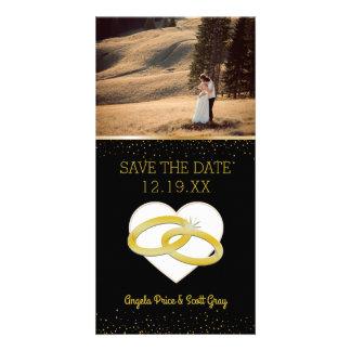 Wedding Rings Heart | Save the Date Gold Black Custom Photo Card