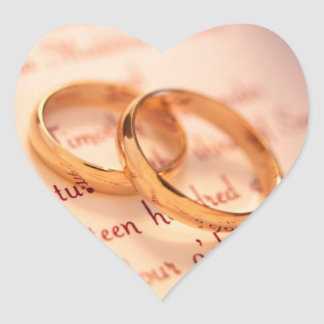Wedding rings heart sticker