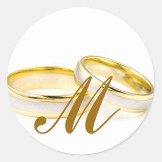 Wedding Rings Monogram M Invitation Seal Round Sticker