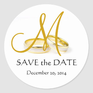 Wedding Rings Monogram Save the Date Stickers Gold