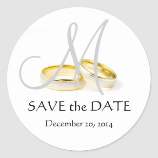 Wedding Rings Monogram Save the Date Stickers Grey