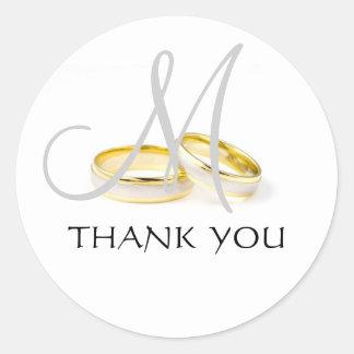 Wedding Rings Monogram Thank You Stickers Grey