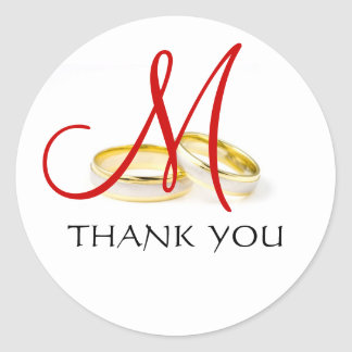 Wedding Rings Monogram Thank You Stickers Red