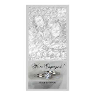 Wedding Rings on Gray Engagement Announcement Picture Card