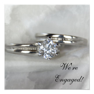 Wedding Rings on Gray Engagement Party Invitation