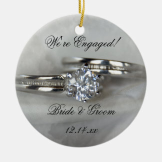 Wedding Rings on Gray Engagement Round Ceramic Decoration