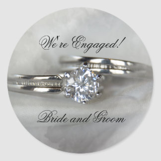 Wedding Rings on Gray Engagement Round Sticker