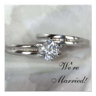 Wedding Rings on Gray Just Married Card