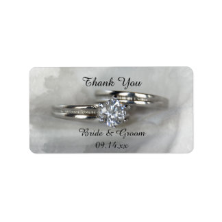 Wedding Rings on Gray Thank You Favor Tag