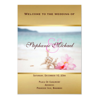 Wedding Rings On The Beach Program Card