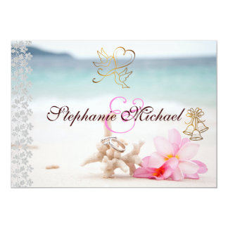 "Wedding Rings On The Beach Wedding Invitation 5"" X 7"" Invitation Card"
