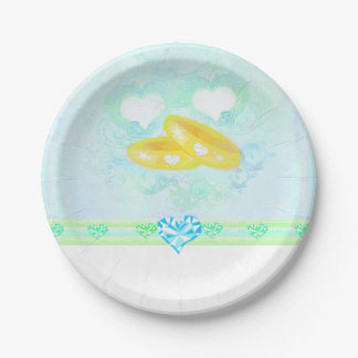 Wedding rings Paper Plate 7 Inch Paper Plate