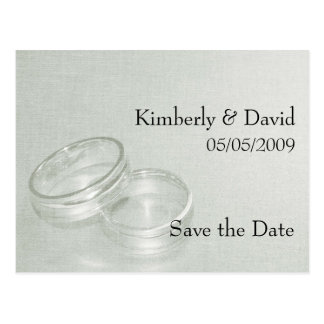 Wedding Rings Save The Date Card (Silver)
