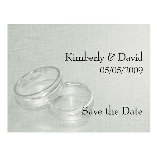Wedding Rings Save The Date Card (Silver) Postcard