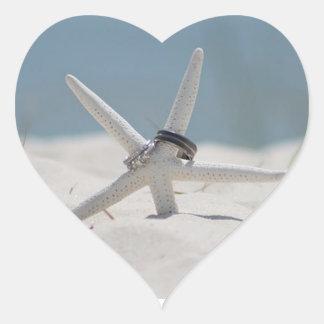 Wedding Rings Starfish Beach Wedding Heart Sticker