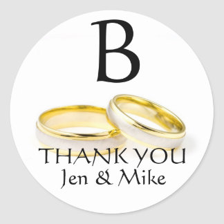 Wedding Rings Thank You Favour Sticker Monogram A
