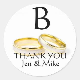 Wedding Rings Thank You Favour Sticker Monogram B