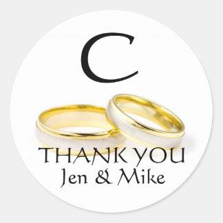 Wedding Rings Thank You Favour Sticker Monogram C