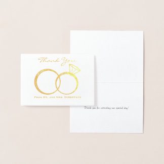Wedding Rings Thank You Foil Card