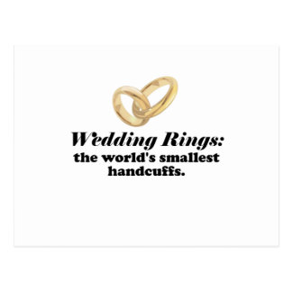 Wedding Rings the Worlds Smallest Handcuffs Postcard
