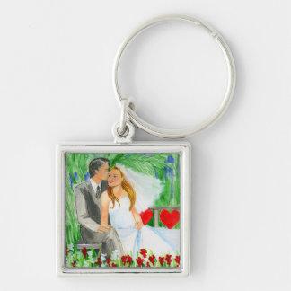Wedding Romantic Bride and Groom in Garden Key Ring