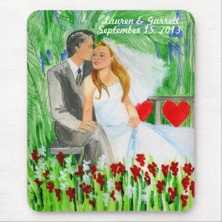 Wedding Romantic Bride and Groom in Garden Mouse Pad