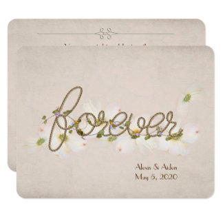wedding rope forever with flowers 11 cm x 14 cm invitation card