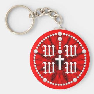 Wedding Rosary Monogram Basic Round Button Key Ring