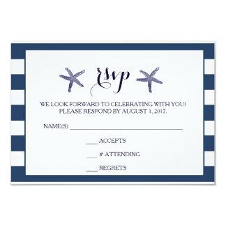 Wedding RSVP Beach Starfish Nautical Card
